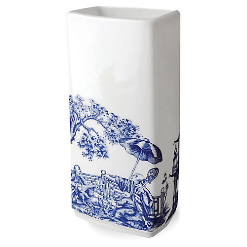 "9"" Chinoiserie Rectangular Vase, White/Blue"