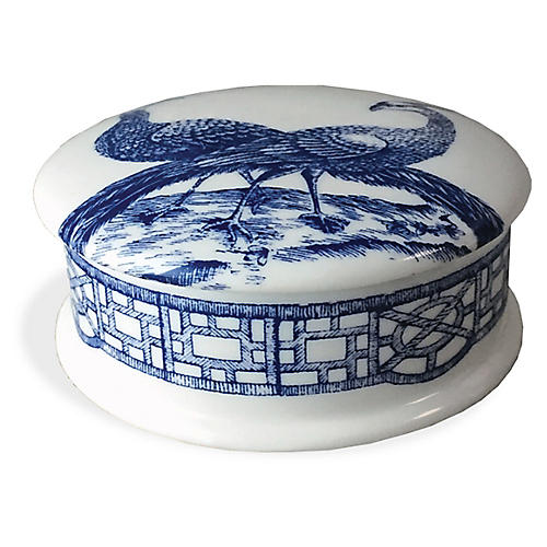 "4"" Chinoiserie Trinket Box, White/Blue"