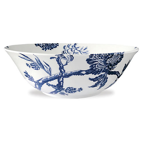 Arcadia Branch Bowl, White/Blue