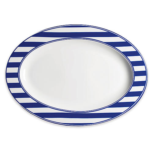 Beach Oval Platter, White/Blue