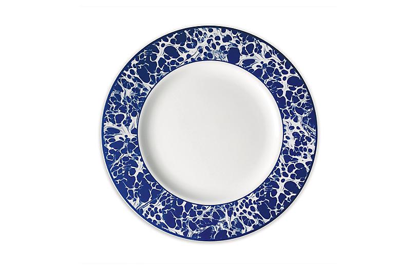 Marble Dinner Plate, White/Blue