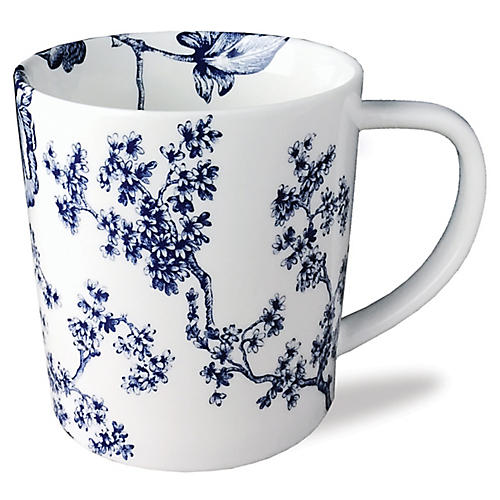 Chinoiserie Mug, White/Blue