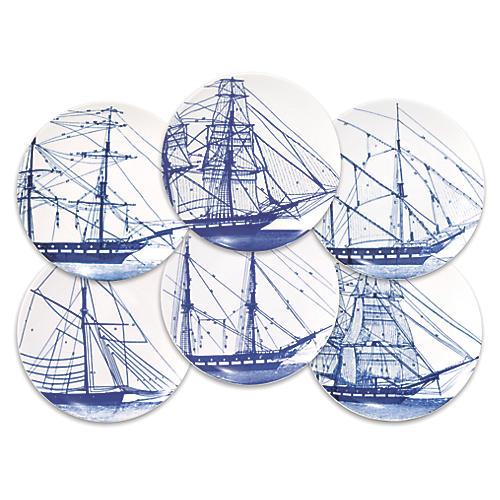 S/6 Rigging Dessert Plates, White/Blue