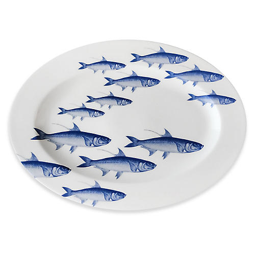 School of Fish Oval Platter, White/Blue