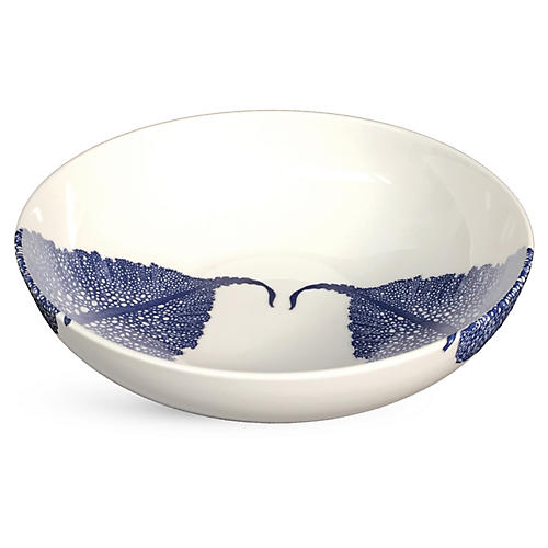 Sea-Fan Soup Bowl, White/Blue