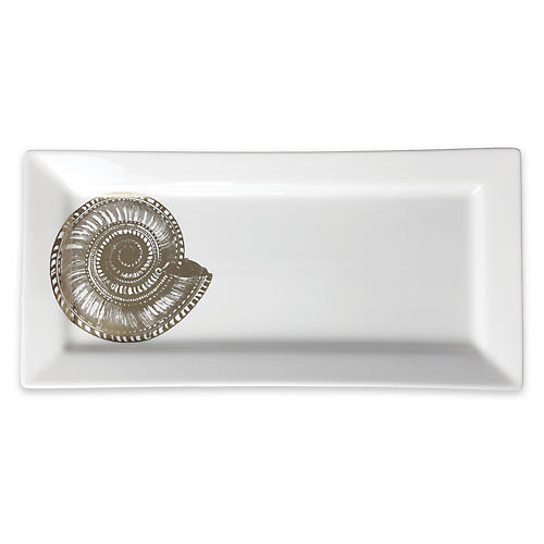Shells Serving Tray, White/Gold