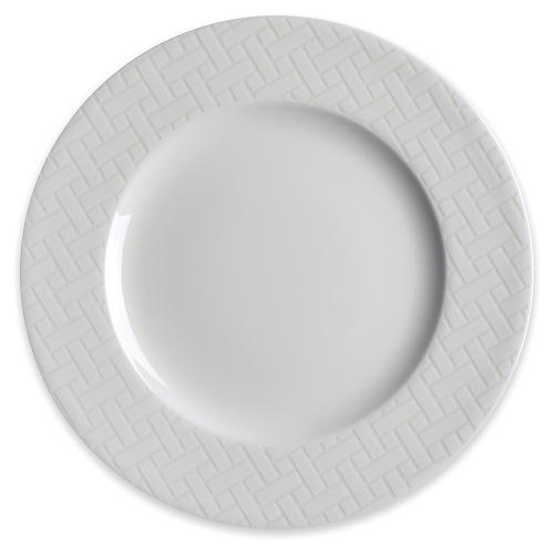 Wicker Salad Plate, White