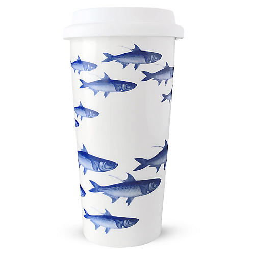 School of Fish Travel Mug, Blue