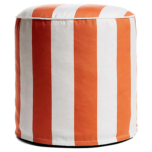 Cabana Stripe Outdoor Round Pouf, Orange/White