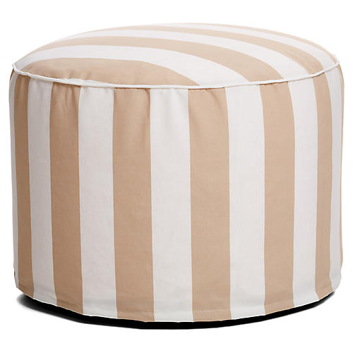 Cabana Stripe Outdoor Ottoman, Beige /White