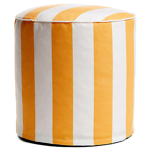 Cabana Stripe Outdoor Round Pouf, Yellow/White