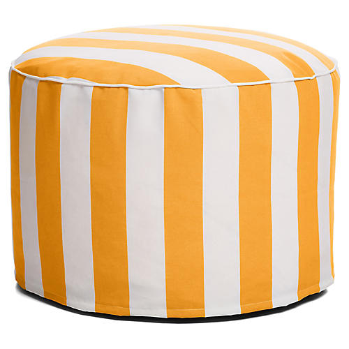 Cabana Stripe Outdoor Ottoman, Yellow/White