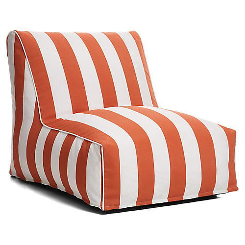 Cabana Stripe Outdoor Lounger, Orange/White