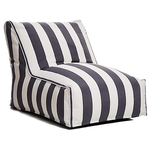 Cabana Stripe Outdoor Lounger, Gray/White