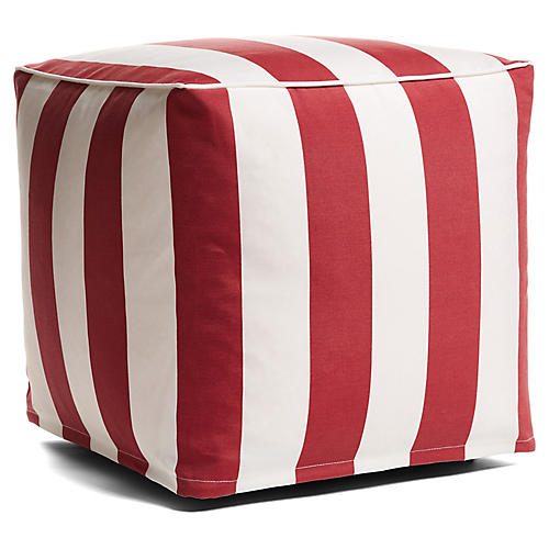 Cabana Stripe Outdoor Pouf, Red/White