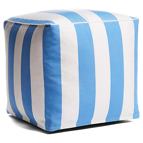 Cabana Stripe Outdoor Pouf, Blue/White