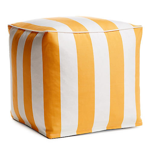 Cabana Stripe Outdoor Pouf, Yellow/White