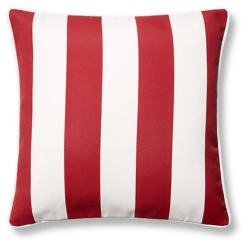 Cabana Stripe 20x20 Outdoor Pillow, Red