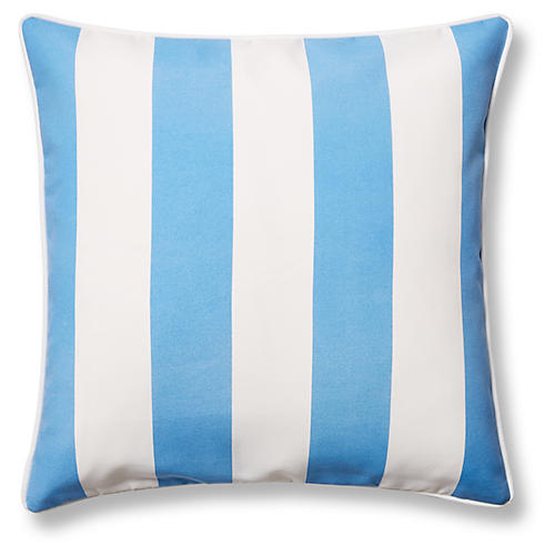 Cabana Stripe 20x20 Outdoor Pillow, Blue