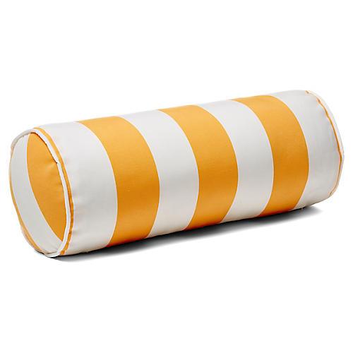 Cabana Stripe 8x20 Outdoor Bolster Pillow, Yellow