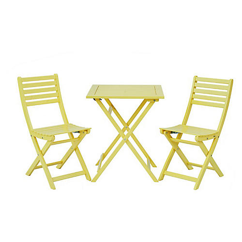 Amber 3-Pc Square Bistro Set, Yellow
