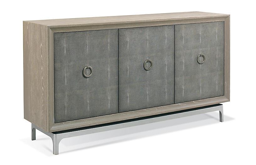 Harper Faux-Shagreen Sideboard, Gray