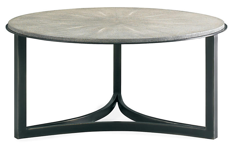 Niko Faux-Shagreen Coffee Table, Gray