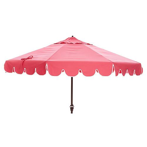 Phoebe Scallop-Edge Patio Umbrella, Pink
