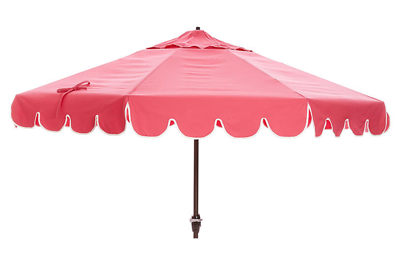 Phoebe Scallop-Edge Patio Umbrella, Pink