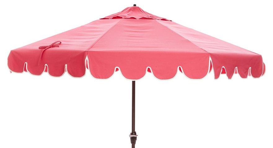 Phoebe Scallop-Edge Patio Umbrella, Pink - One Kings Lane Outdoor ...