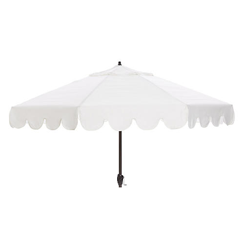Phoebe Scallop-Edge Patio Umbrella, White