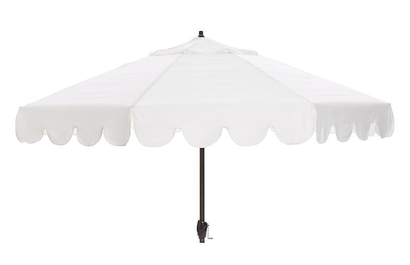 Phoebe Scallop-Edge Patio Umbrella, White