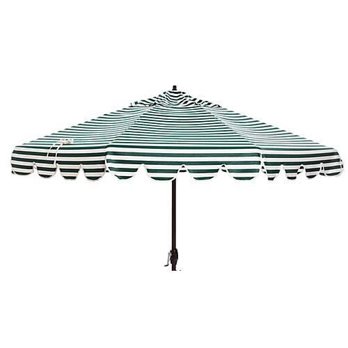 Phoebe Scallop-Edge Patio Umbrella, Forest/White