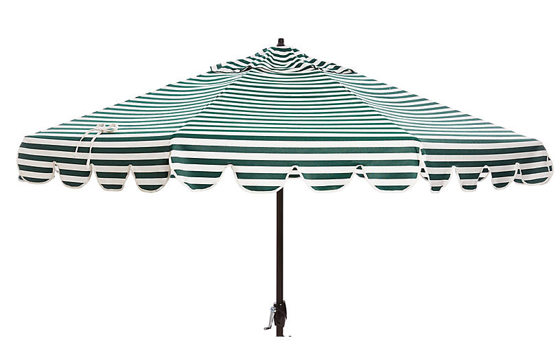 Phoebe Scallop-Edge Patio Umbrella, Forest/White