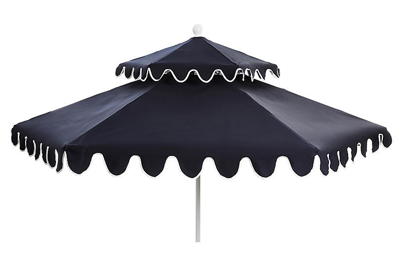 Daiana Two-Tier Patio Umbrella, Navy/White