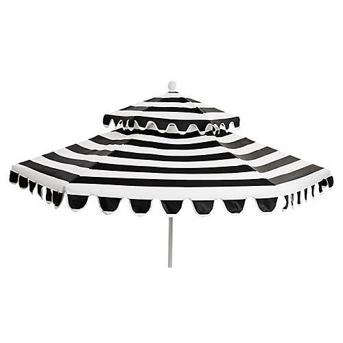 Daiana Two-Tier Patio Umbrella, Black/White