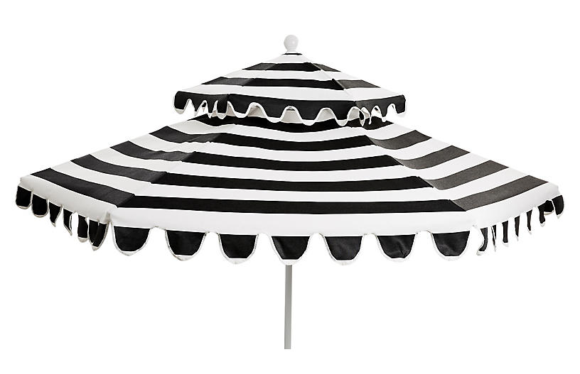 Daiana Two-Tier Patio Umbrella, Black/White