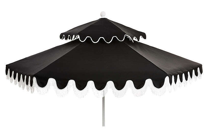 Daiana Two-Tier Fringe Patio Umbrella, Black