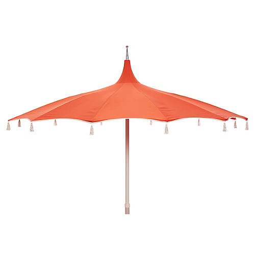 Rena Tassel Patio Umbrella, Melon