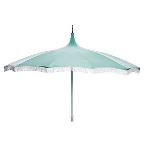 Ari Pagoda Fringe Patio Umbrella, Glacier Blue