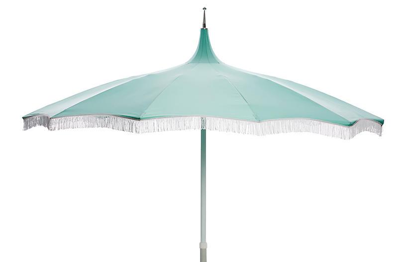 Ari Pagoda Fringe Patio Umbrella, Glacier Blue