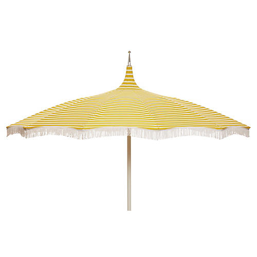 Ari Pagoda Fringe Patio Umbrella, Yellow/White