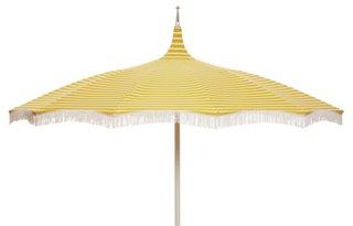 Ari Pagoda Fringe Patio Umbrella, Yellow/White   Outdoor | One Kings Lane