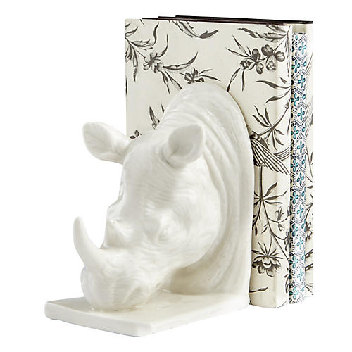 "13"" Rhino Bookend, White"