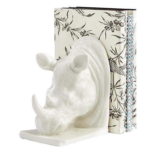 """13"""" Rhino Bookend, White"""