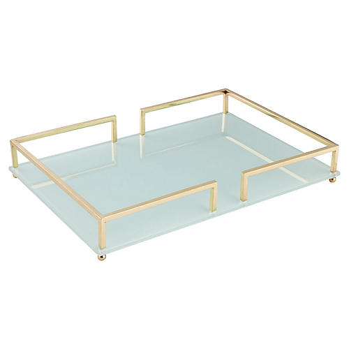 "26"" Contempo Tray, Clear/Gold"