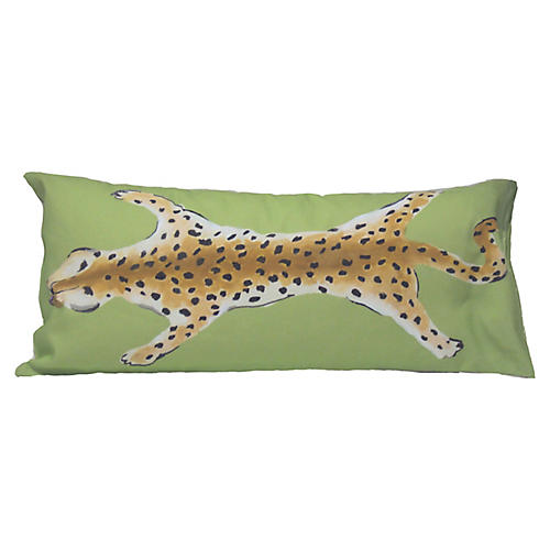 Leopard 12x24 Lumbar Pillow, Green