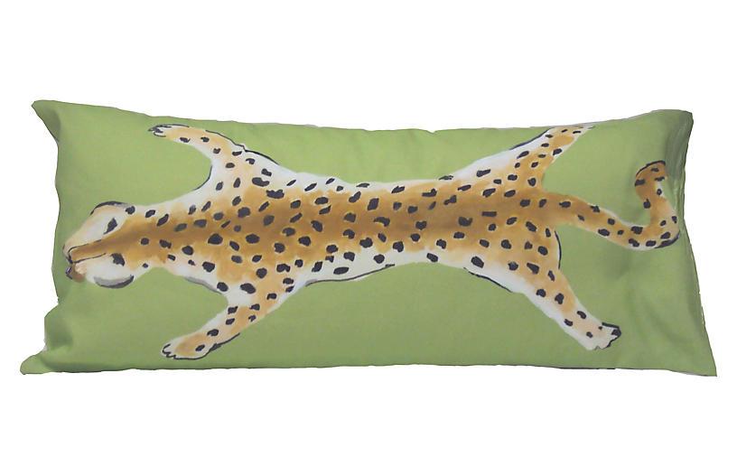 Leopard 12x24 Lumbar Pillow, Green
