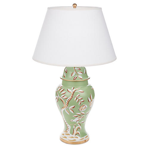 Cliveden Ginger Jar Lamp, Green