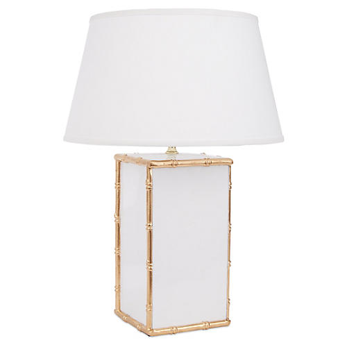 Bamboo Table Lamp, White